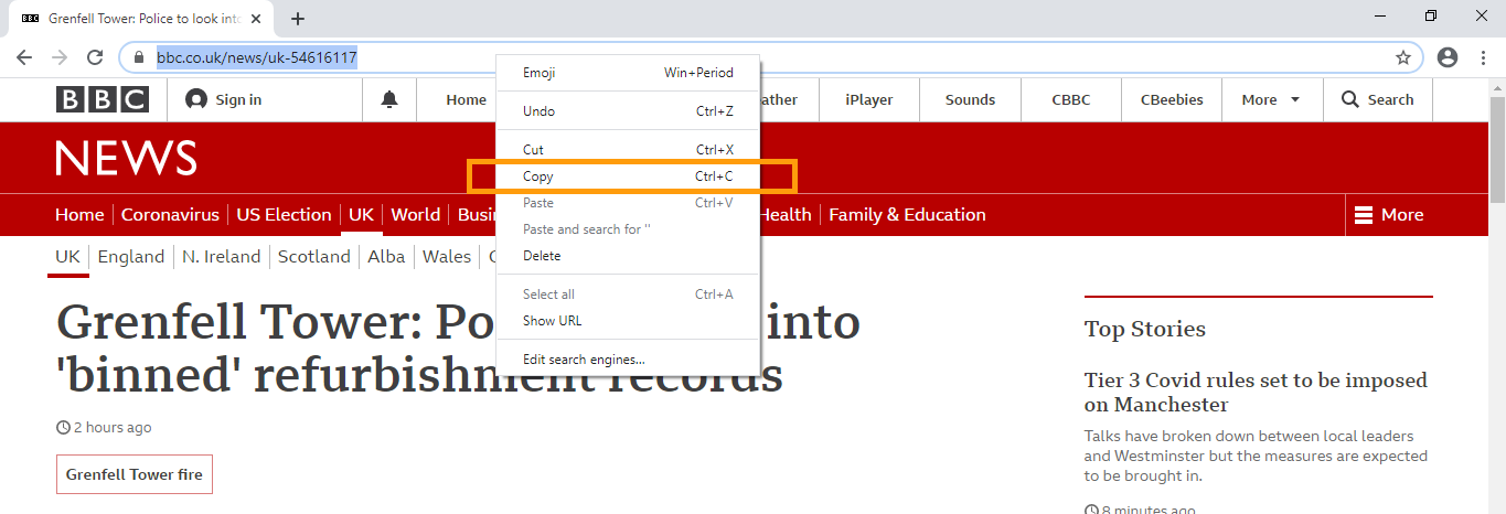 An image of address bar options with Copy highlighted.