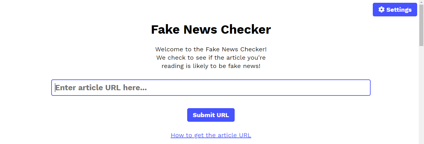 An image of the Fake News Checker page with the blue box focussed