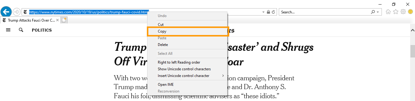 An image of address bar options with Copy highlighted