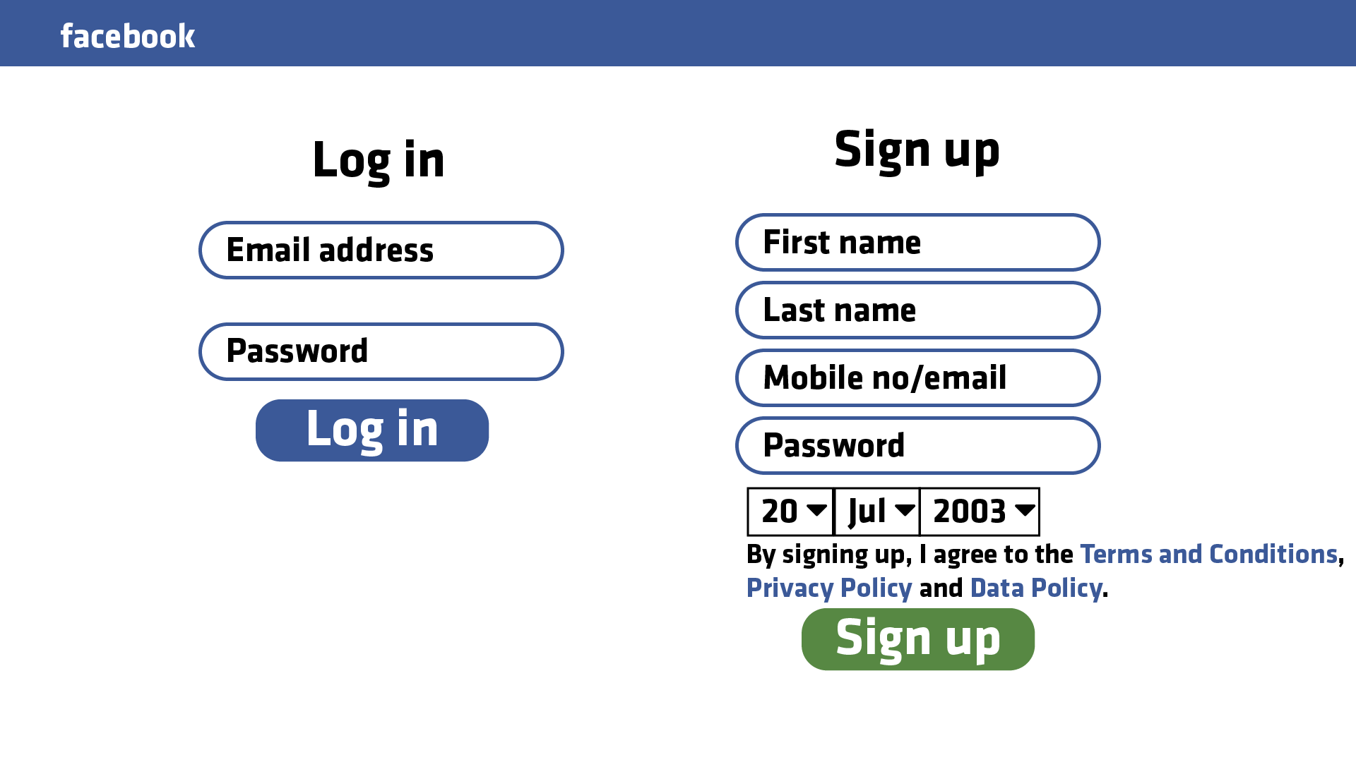 The Facebook login page