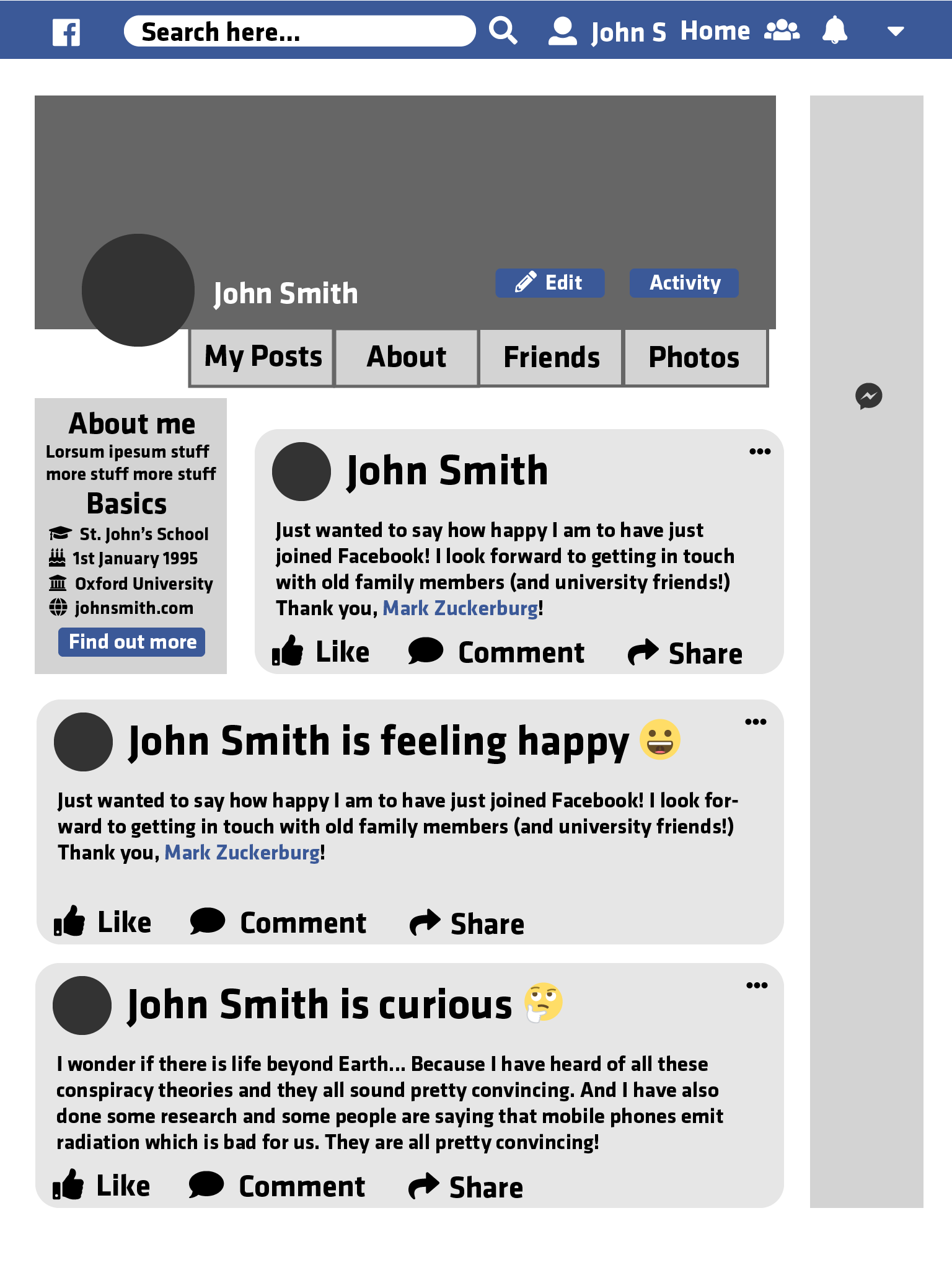 The Facebook profile page